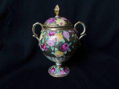 Antique Japanese Nippon Royal Kinran Heavy Gold Beading Sugar Bowl from jools4u on Ruby Lane