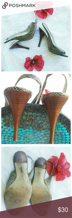 "Guess by Marciano gw paprika leather heels 5"" high heels. Tall!  Slingback heels in excellent used condition.  The leather is made to look like snakeskin. Great condition Heels, and leather also. Guess by Marciano Shoes Heels"