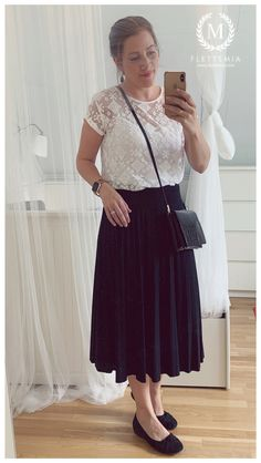 #FletteMia • Black Midi Skirt: #AnnaField •  White Lace Top: #EvenAndOdd • Black Flats: #Gabor •  Bag: #HM Black Lace Tops, White Lace, Putting Outfits Together, Even And Odd, Black Midi Skirt, Black Flats, Black Blouse, My Wardrobe, My Style