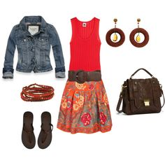 love the shades of red and coral paired with brown leathers and toned down with the jean jacket.
