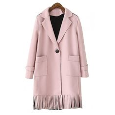 Plain Notched Lapel Single Button Tassel Hem Suede Coat (77 AUD) ❤ liked on Polyvore featuring outerwear, coats, pink coat, suede leather coat, one button coat and suede coat