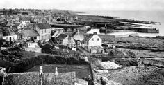 Old photograph of cottages in St Monans fishing village in the East Neuk of Fife, Scotland