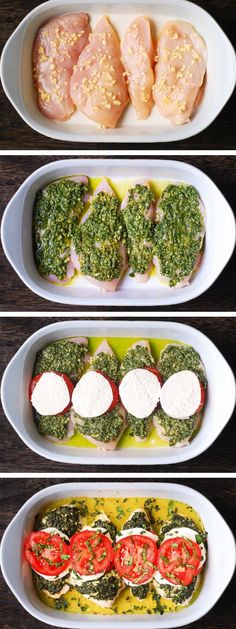 one pan chicken Basil Pesto Tomato Mozzarella Chicken Bake low carb and gluten-free recipe. Its easy to make, and only one pan is needed. Basil Pesto Recipes, Chicken Pesto Recipes, Easy Chicken Dinner Recipes, Easy Meals, Easy Pesto Recipe, Pesto Chicken Bake, Recipes Dinner, Pork Recipes, Salad Recipes