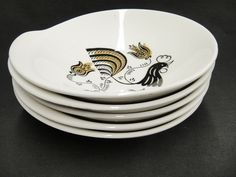 Good Morning Lot of 5 Lugged Cereal Bowls Rooster by Royal Black