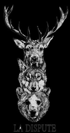 Thigh Tattoo Maybe stag bear wolf tattoo Back Tattoo, I Tattoo, Cool Tattoos, Tatoos, La Dispute Tattoo, Mens Shoulder Tattoo, Animal Heads, Symbolic Tattoos, Animal Tattoos