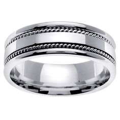 Add contemporary flair with this ornate white gold wedding band for men. It features a double rope outer edge design. This mens ring with a high polish finish will stay looking sharp over the years. This unique ring is manly without being too edgy.