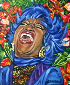 La Flamboyante Celia Cruz, Oil on Canvas, © 2007 by Lili Bernard. Collection of Marcia Lewis. My parents raised us with sounds of Celia Cruz's voice emanating from our living room turntable. Puerto Rico Pictures, Genre Musical, Cuban Culture, Latino Art, Cuban Art, Caribbean Art, Africa Art, Found Art, Renaissance Art