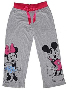 Disney Classic Mickey and Minnie Mouse Pajama Pants - Grey / Pink