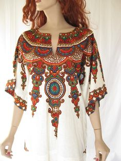 RESERVEDVintage 70s ETHNIC Boho Dashiki Dress by TimeBombVintage