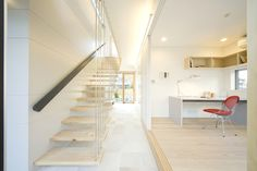 IO House Japan - Minimalist work station and interesting hanging staircase design