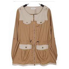 Khaki Zippper Loose Women Chiffon and Cotton Round Neck M/L/XL... ($13) ❤ liked on Polyvore