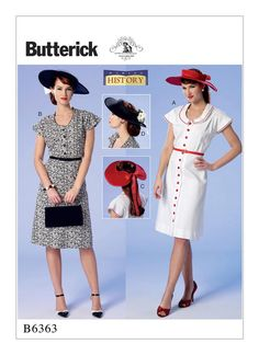 1940s-era dresses and hats sewing pattern from historic clothing specialist Nancy Ferris-Thee for Butterick. B6363 Misses' Button-Front, Flutter Sleeve Dresses and Sun Hats