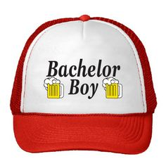 "- Red and white trucker hat, mesh back provides breathability - Reads ""Bachelor Boy"" bordered by overflowing beer steins - Material: 65% Cotton, 35% Nylon, Adjustable snap closure, one size fits all -"
