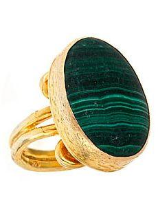 emily armenta  rings | Emily Armenta Large Square Shield Ring with Malachite
