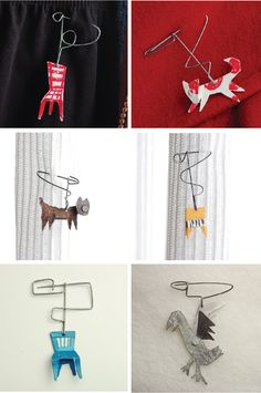 Sweater Pins - Fun idea to create!!  Love these primitive pins from Japanese online shop, Tail-Tree. Particularly loving the creative use of the wires. The creator is designer, Sawayama Kousakusyo. Most of his designs are made from waste wood, metals and wires. You can see much more of his work on his blog  http://sunsetgurldesign.typepad.com/.a/6a0105356ad7cf970c015393aa9c7c970b-pi