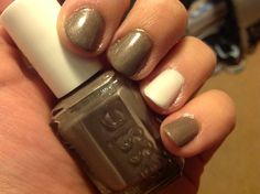 "Essie ""mochacino"" with an Essie ""marshmallow"" accent nail"