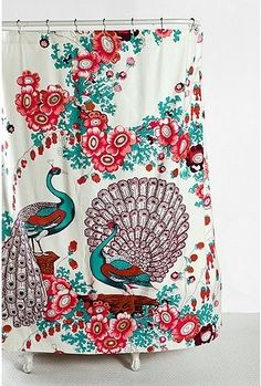 Pink and Turquoise Floral Peacock Shower Curtain from Urban Outfitters. Saved to Someday. Peacock Shower Curtain, Pretty Shower Curtains, Turquoise Bathroom, Peacock Bathroom, Bathroom Colours, Urban Outfitters, Have A Shower, Dream Shower, Shower Time
