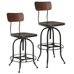 Counter height option for kitchen, brings in some metal- Stanford Swivel Bar & Counter Stools - Wood Black Dining Room Chairs, Bar Chairs, Ikea Chairs, High Chairs, Find Furniture, Dining Furniture, Furniture Ideas, Apartment Furniture, Office Furniture