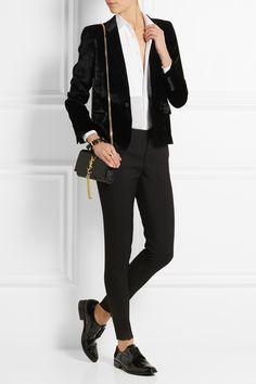 Saint Laurent Velvet blazer with white shirt, skinny pants, brogues and bag NET-A-PORTER.COM