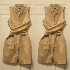 Talbots button up wrap dress in khaki Beautiful khaki dress with hidden buttons and wide wrap around sash ties. NWT fabric with a bit of stretch allowing the dress to move with you and not be constricting. Gorgeous alone or with my a sweater. This would look great with some Ralph Lauren shoes I will be posting. Talbots Dresses Midi