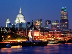 A beautiful night view of the london skyline in England.