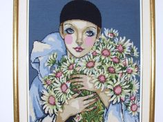 Vintage Modern Large Needlepoint Woman With by Mid Century Modern Decor, Vintage Modern, Custom Framing, Retro Style, Needlepoint, Retro Fashion, Woman, Artist, Artwork