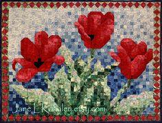 Quilt Pattern - Tulip Mosaic Art Quilt Pattern. $10.50, via Etsy.