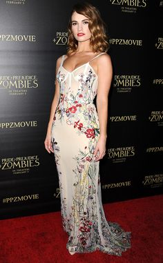 Lily James from The Best of the Red Carpet The Pride and Prejudice and Zombies actress is pure literary heroine in Alexander McQueen.