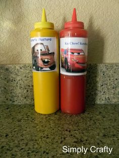 {Disney Cars Party} Mater's Mustard and KaChow Ketchup hahaha