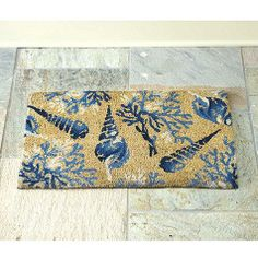 Beach House Blue and White Seashell Coir Door Mat - Ballard Designs