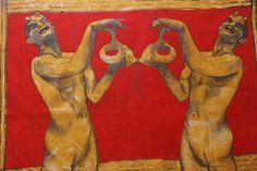 Satyr, David Jones, Nymph, Mythology, Religion, Portrait, Painting, Animals, Image