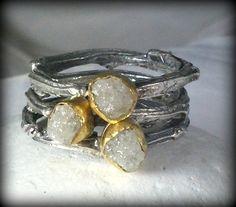 Rough Diamond Triple empilage Rings brindille par EarthDiamond
