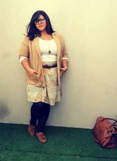 Camel and pastel print accented with leather. It looks feminine, casual, classy, vintage, and absolutely stunning.