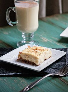 Eggnog Cheesecake Bars – Recipe and Photo by Blogger Kristen Doyle of www.dineanddish.com