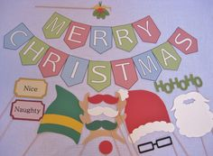 PDF - Christmas photo booth props/decorations/craft - printable DIY