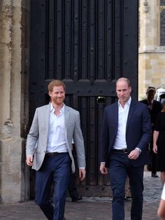 Prince Harry Was Joined By His Best Man The Duke Of Cambridge As They Met Some Of Those Waiting In The Crowds On Castle Hill