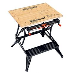 Its dual height allows for use as a workbench, bench tool stand, vise, or sawhorse. Workmate transforms into a roomy workbench or bench tool stand. Workbench Table, Portable Workbench, Folding Workbench, Workbench Plans, Folding Cart, Garage Workbench, Garage Tools, Woodworking Bench Vise, Woodworking Projects