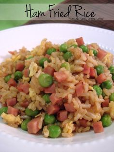 Ham Fried Rice with Peas.  I used half brown/white instant rice, half peas/carrots, and I would use a little less soy sauce.  It was super yummy, though.  Definitely going on the menu rotation.