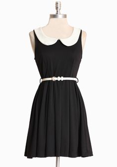 "Swan Lake Collared Dress 38.99 at shopruche.com. Rendered in a soft knit, this black dress is perfected with a sophisticated collar and removable belt in white. Finished with a flattering full skirt and back zipper closure., , 78% Polyester, 18% Rayon, 4% Spandex, Made in USA, 32.5"" length from top of shoulder"