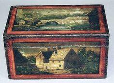 HUDSON VALLEY 19TH CENTURY FOLK ART PAINTED DOCUMENT BOX. ALL ORIGINAL.