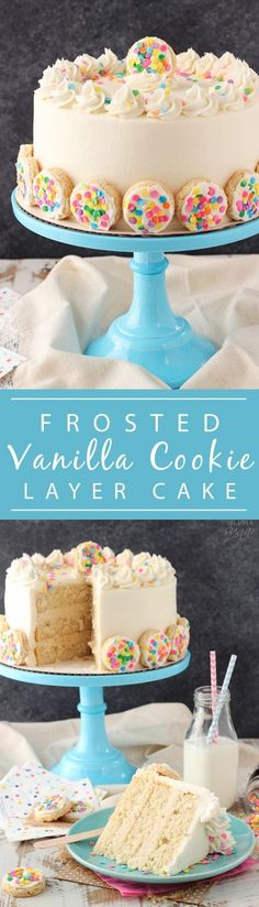 BAILEYS Frosted Vanilla Cookie Layer Cake - cake layers are flavored with Frosted Vanilla Cookie creamer, then filled with a sugar cookie filling!
