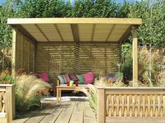 Retreat Wooden Garden Shelter with polycarbonate roof covering. The Retreat Garden Shelter is a unique garden structure that will create a delightful 'retreat' in any garden. Backyard Garden Landscape, Small Backyard Gardens, Garden Spaces, Backyard Patio, Backyard Landscaping, Small Garden Gazebo, Patio Garden Ideas Uk, Garden Retreat Ideas, Wooden Garden Gazebo