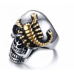 Stainless Steel Gold Scorpion Crawling Skull Punk Gothic Ring (160 ARS) ❤ liked on Polyvore featuring jewelry, rings, goth rings, punk jewelry, stainless steel skull jewelry, gothic rings and stainless steel rings