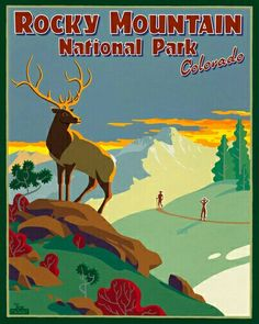 A vintage take on Rocky Mountain National Park travel poster.
