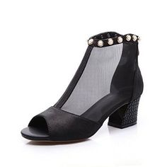 Nine Seven Genuine Leather Womens Peep Toe Mesh Contrast-stitching Chunky Heel Handmade Sandal with Bead