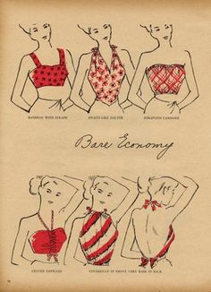 Early 1950s summertime halter and crop top styles.