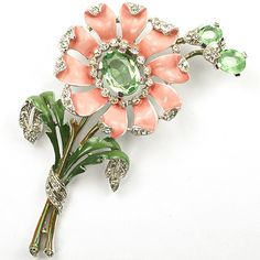 Trifari 'Alfred Philippe' Peach Daisy with Peridot Shoots Pin Clip-- Color of the Month on LoveNestDesign blog-- June is Coral and July is Mint Green