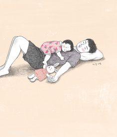 산그림 작가의 개인 갤러리 입니다. Cute Couple Drawings, Cute Couple Art, Cute Drawings, Dad Drawing, Family Drawing, Cute Cartoon Girl, Cute Love Cartoons, Baby Clip Art, Baby Art