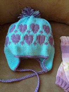 Free Pattern: Cherub DK Hearts Winter Hat by Vera Sanon