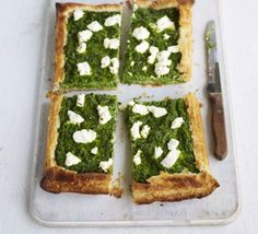 Top shop-bought puff pastry with wilted greens, flavoured with nutmeg and some salty cheese - a great-value supper or lunchbox option, from BBC Good Food. Cheese Quiche, Cheese Puffs, Goat Cheese, Spinach Puff Pastry, Vegetable Tart, Tarte Fine, Vegetarian Pizza, Pesto Pizza, Bbc Good Food Recipes